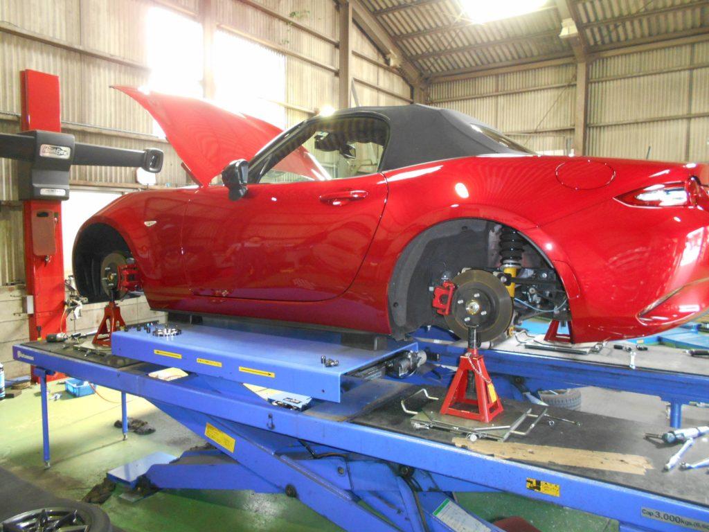 ロードスター ND5RCのダウンサスの取り付けと四輪アライメント