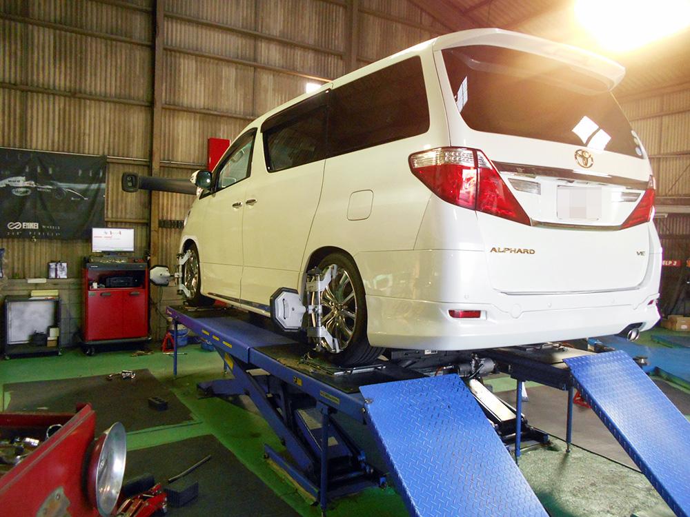 ヴェルファイア GGH25Wの車高調取付と四輪アライメント