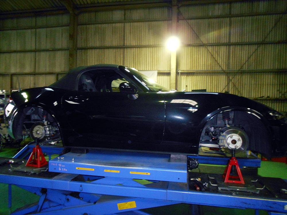 ロードスター ND5RCの車高調整と1G締め直し、四輪アライメント