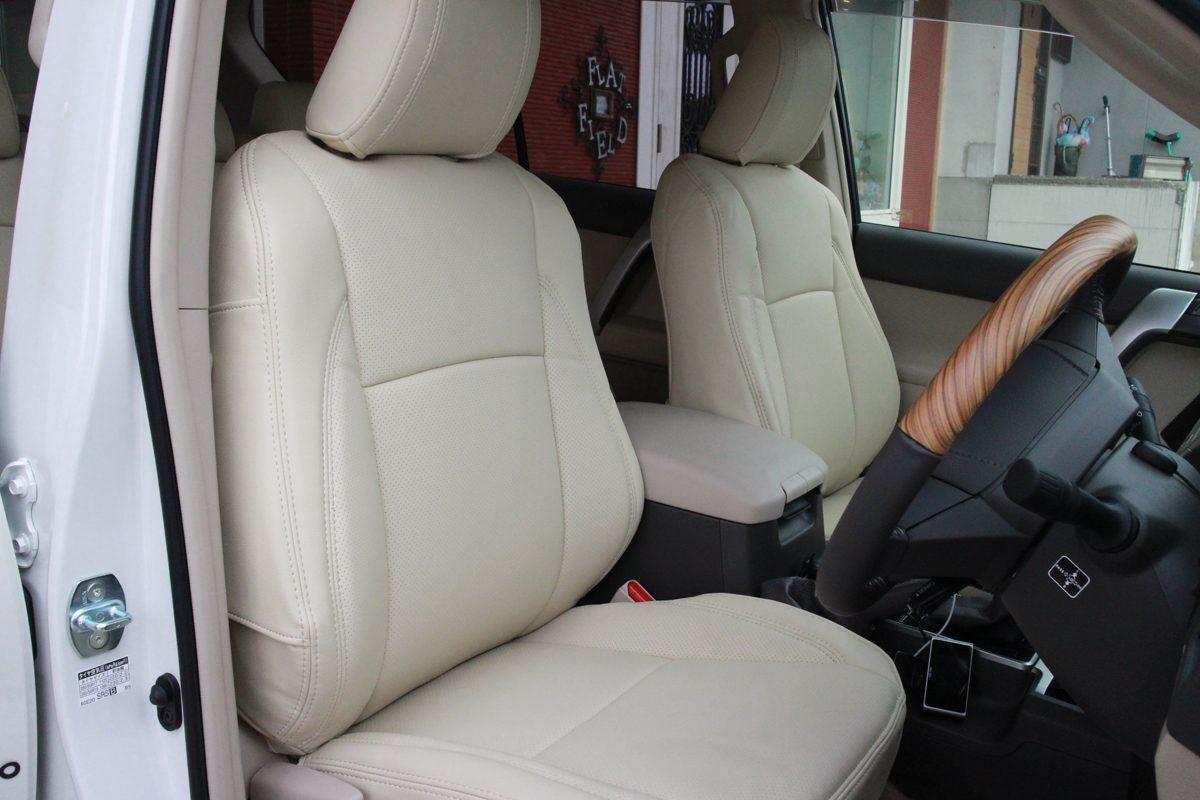 新型プラドにシートカバーとシートヒーターの取り付け