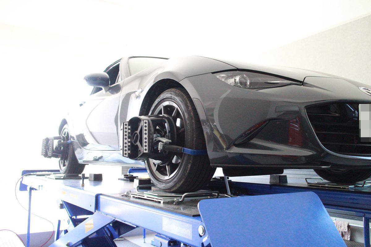 ロードスター ND5RCの車高調車高調整と1G締め付け直しと四輪アライメント