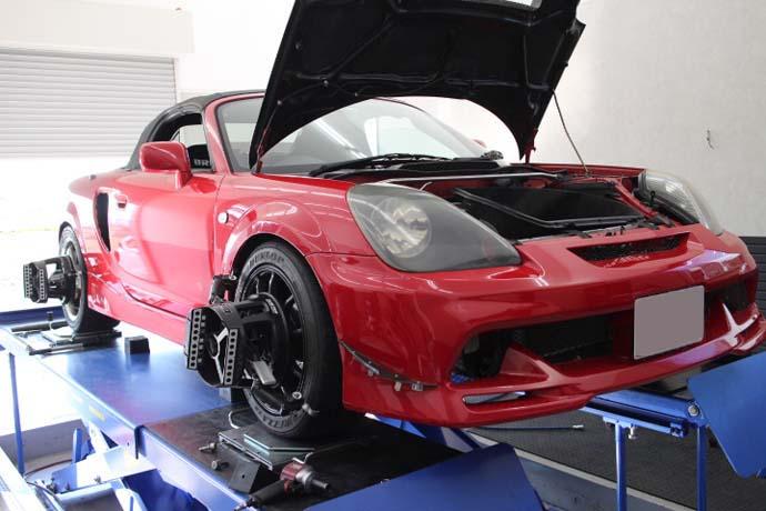 MR-S 1G締め、車高調整と四輪アライメント