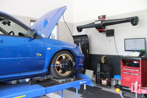 インプレッサ GDA リア車高調取り付け 四輪アライメント調整