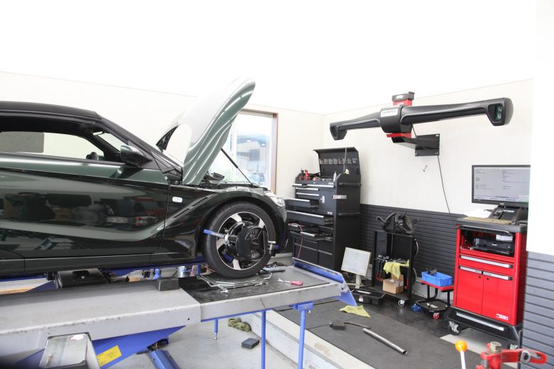 S660 SPOONスプリング取り付け 四輪アライメント調整
