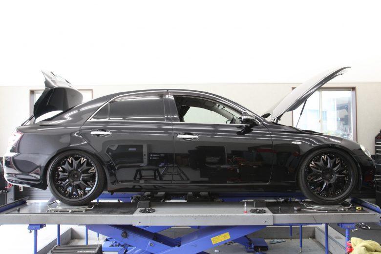 120系マークX ブリッツ車高調取り付け 四輪アライメント調整